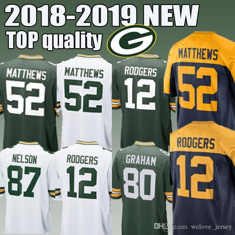 best sneakers 8e475 413bf Green Bays packers jersey 12 Aaron Rodgers 80 Jimmy Graham 20 Kevin King  Men's football jerseys 2018-2019 good editon