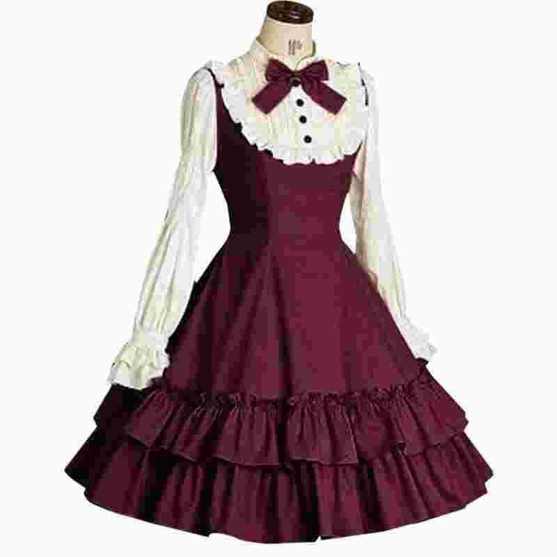 9240b760a Compre Vestido Lolita Doce Das Mulheres De Manga Longa Do Vintage Vestido  Com Babados Vestido Retro Lindo Lindo Puff Mangas 2019 Novas Mulheres De ...