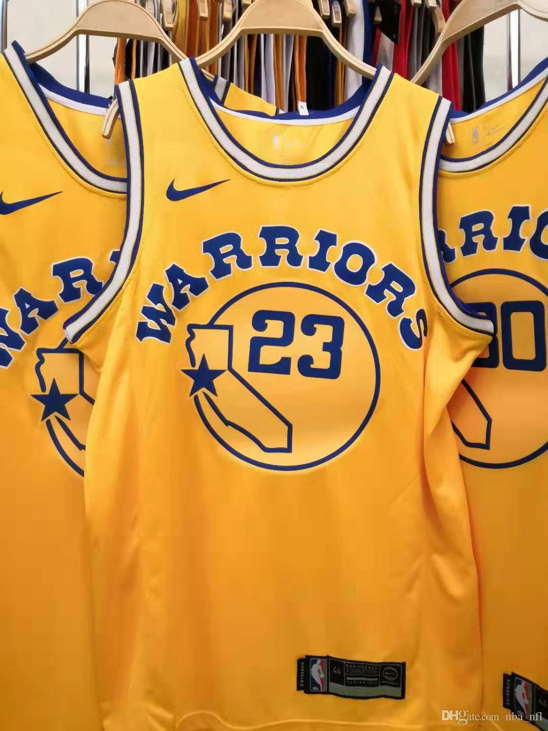 online store e4026 c9625 2020 Mens Warrior 23# Draymond Green Retro Yellow Swingman Basketball  Jersey AU Hot Pressing Printed Name Number Authentic US Size XXS-XXL