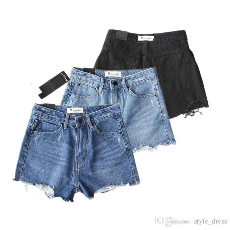 f9270a8d0ee4a6 Plus2019 années 50 Vintage déchiré trou Denim Shorts femmes Casual Jeans de  poche Short taille haute été fille Pop