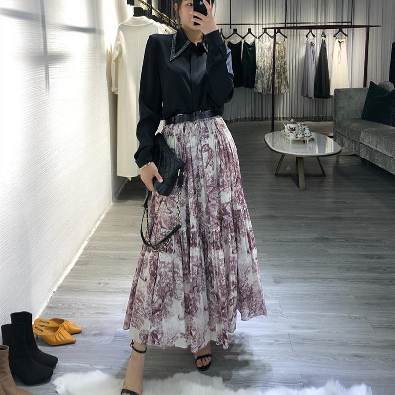 e9793a0f4f58ce 2019 Women Animal Leopard Print Long Skirt Big Hem Pleated Maxi Skirts New  2019 Spring Summer High Waist Brand Runway Skirt Red J190426 From Tubi02,  ...