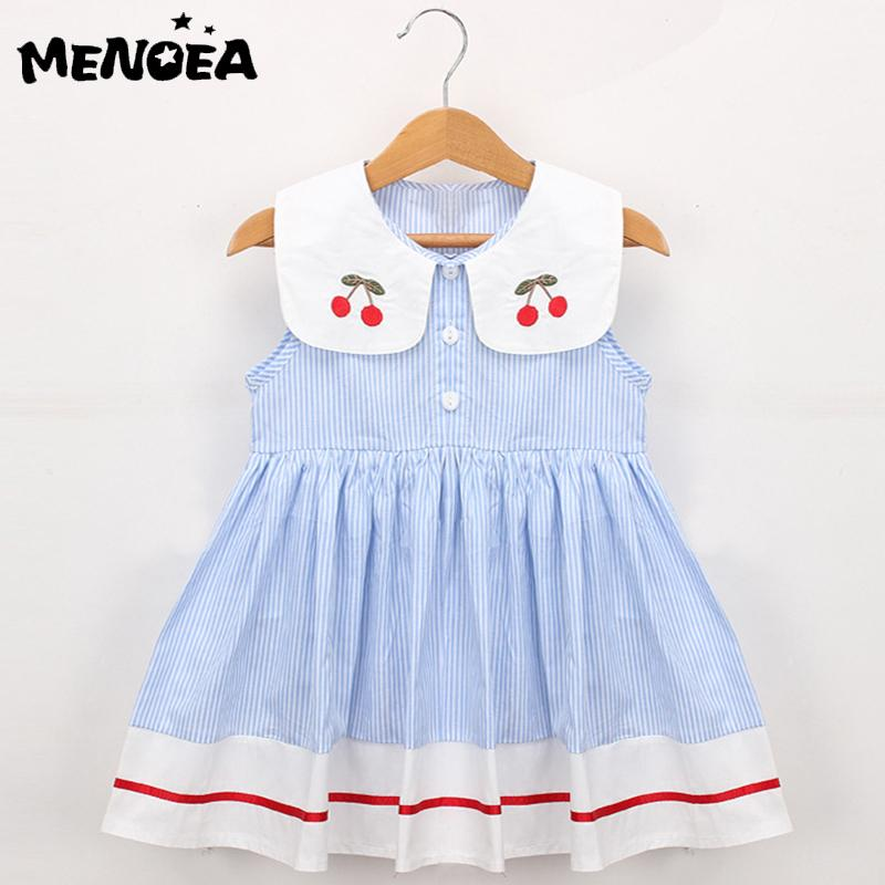 52b4756fd6c3a 2019 Menoea Girls Dress Embroidery Cherry Turn Down Collar Sleeveless  Striped Dress Cotton Infant Princess Cute Baby Girls Clothes From  Vanilla14, ...