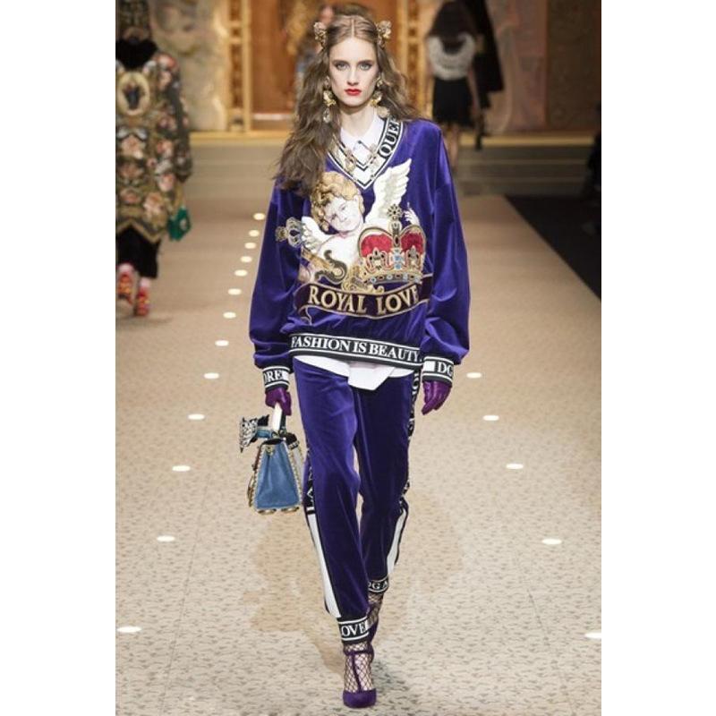 f76e9057fdd 2019 High Quality 2019 Runway Angel Embroidery Velour Set Purple Fashion  Designer Women S Two Piece Pants Plus Size XXXL From Lexy2018