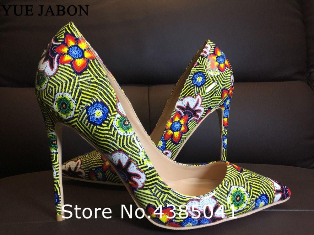Grüne Frauen Retro Druck Blumen Pumps High Heels Schuhe Frau Plateau Pumps Sexy Spitz Dünne High Heel Schuhe Frau Pumps