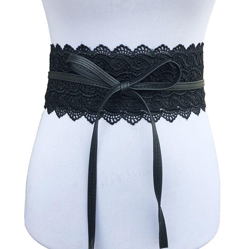 d231301c1977 Acheter 2019 Nouveau Noir Blanc Large Corset Fleur Creuse Ceinture Femme  Auto Cravate Ceinture Ceintures Pour Les Femmes Robe De Mariée Taille Bande  De ...