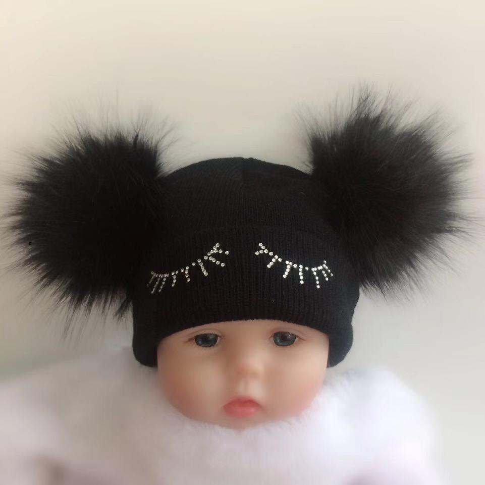 83f01d6b children's winter infant newborn baby kids faux fur wool hat cap beanie  with 2 double pom pom beanie for boys and girl props