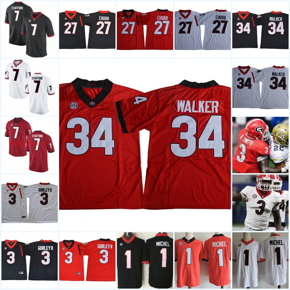 huge selection of 5901e cef02 Georgia Bulldogs Fran Tarkenton Nick Chubb Herchel Walker Sony Michel Todd  Gurley Roquan Smit Matthew Stafford AJ. Green Champ Bailey Jersey