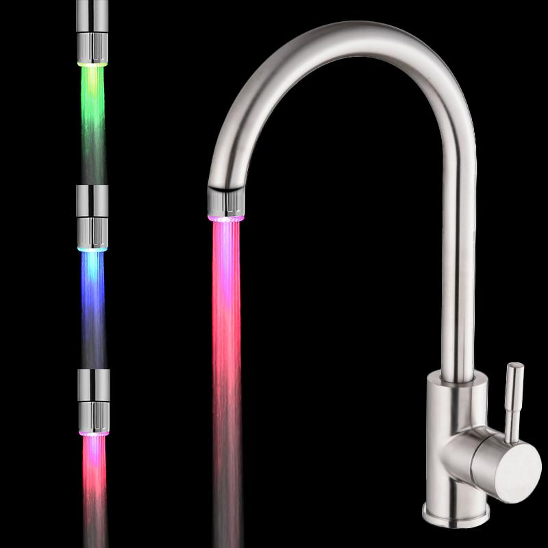 7 Colors LED Water Faucet Lights Colorful Changing Glow Shower Head Kitchen Tap Aerators for Kitchen Bathroom Products