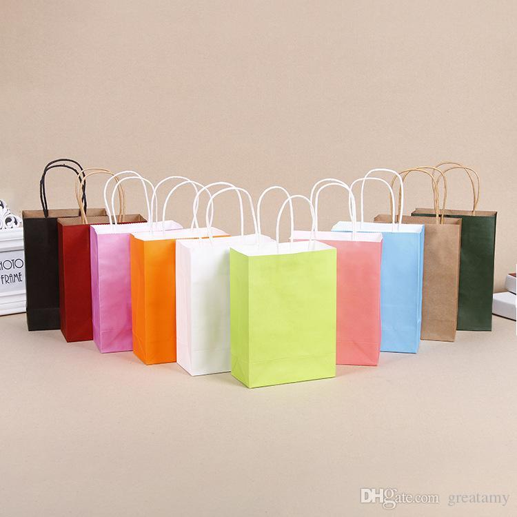 b97b2ce3959 Compre Papel Cor Sólida Bolsa De Compras Saco De Papel Kraft Saco De  Presente Pintado Sacos Coloridos Presentes Pacote De Doces De Greatamy