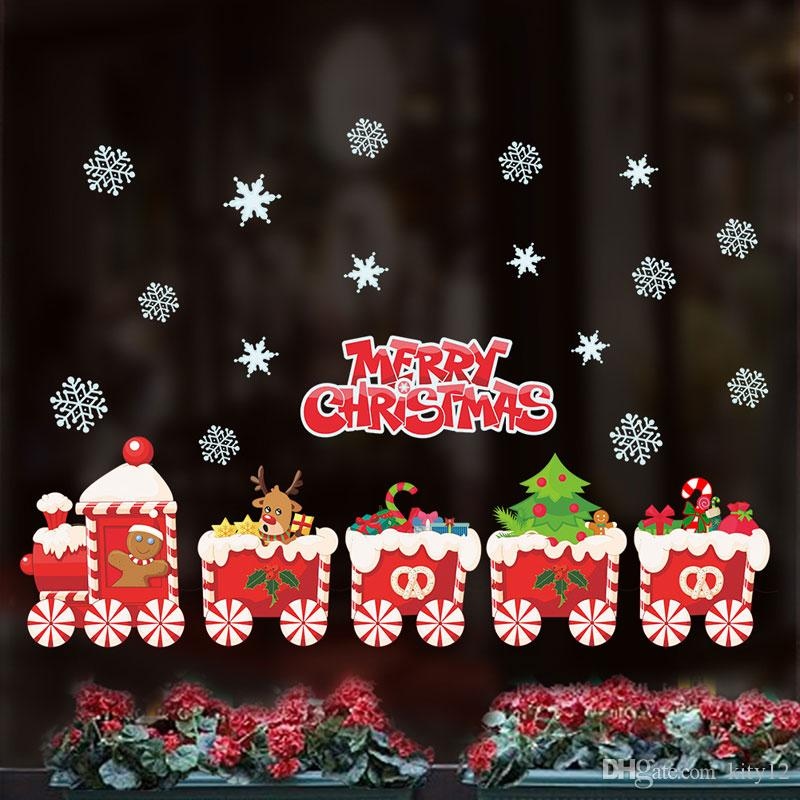 DIY Decals Santa Claus Merry Christmas Wall Stickers Mural for Living Room Kids Room and Shop Windows Decoration