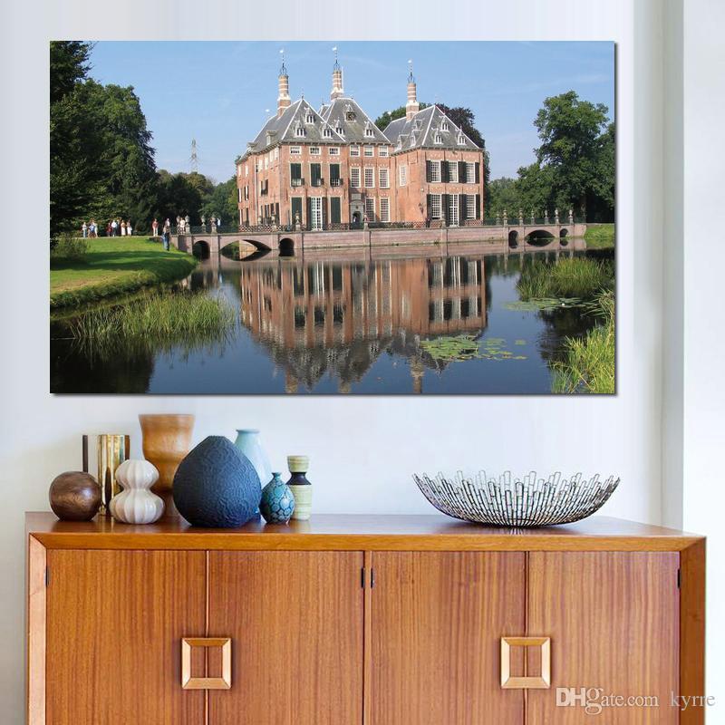 lake pond mansion castle Canvas Arts Immagini Immagini a parete stampate su tela