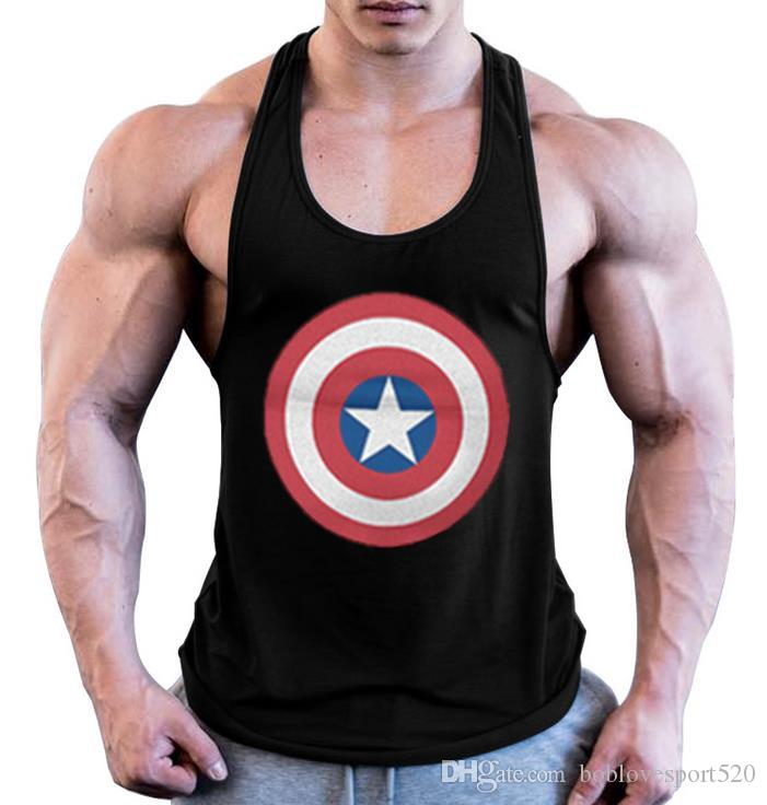 65157e2b321ab3 2019 Brand Captain America Print Gym Mens Tank Tops Bodybuilding Clothing  Cotton Tanktop Blank Work Out Vest Men Fitness Sleeveless Shirt From ...