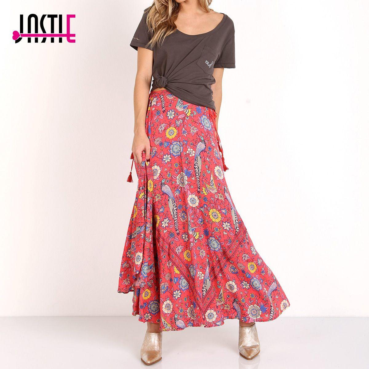17c86ed8b Jastie Boho Estampado floral Faldas largas Mujeres Faldas de verano  Elásticos de cintura inferiores Falda maxi de Hippie Beach Saia Chic Mujer  Faldas ...
