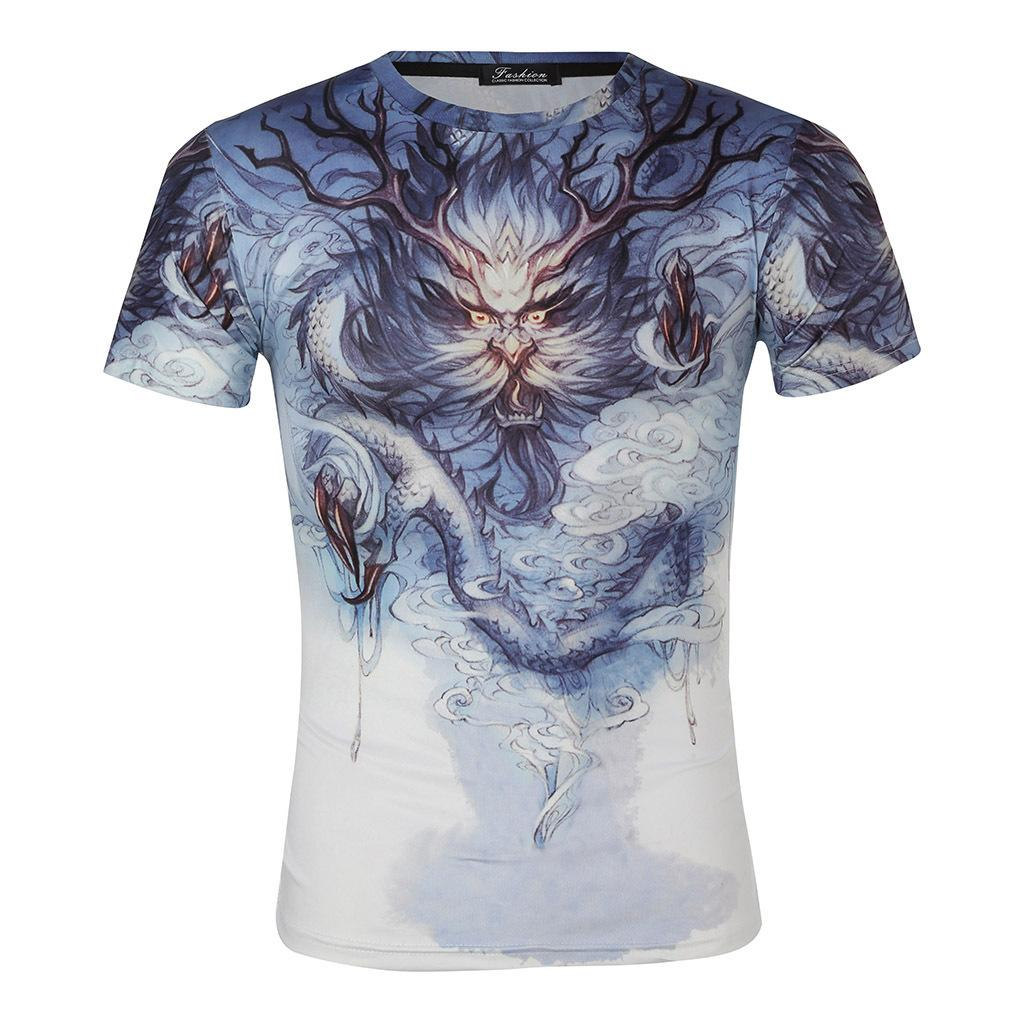 2019 T-shirts Short Sleeve T T-shirt Emperor Shield White Background The Chinese People Dragon King Thin Money Men's Wear 3 Digital Printing