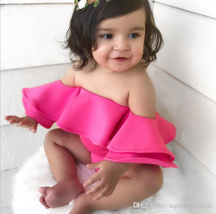 dd314b0e34f 2019 Toddler Girl Fashion Off Shoulder Rompers Bebe Summer Cute Lovely  Jumpsuits Kids Clothing Ruffles Rose Children Romper From Cnbestwholesle