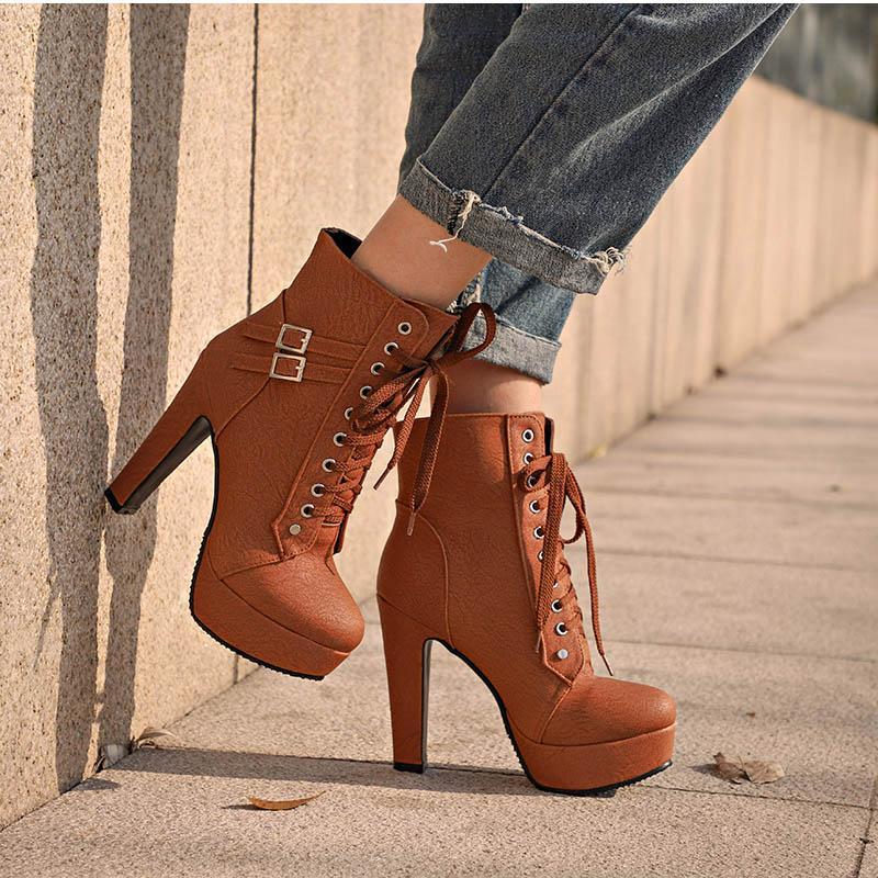db8eff89 Compre Tallas Grandes Botines Para Mujer Plataforma Tacones Altos Mujer  Zapatos Con Cordones Hebilla Corta Bota Casual Damas Calzado H 147 A $82.19  Del ...