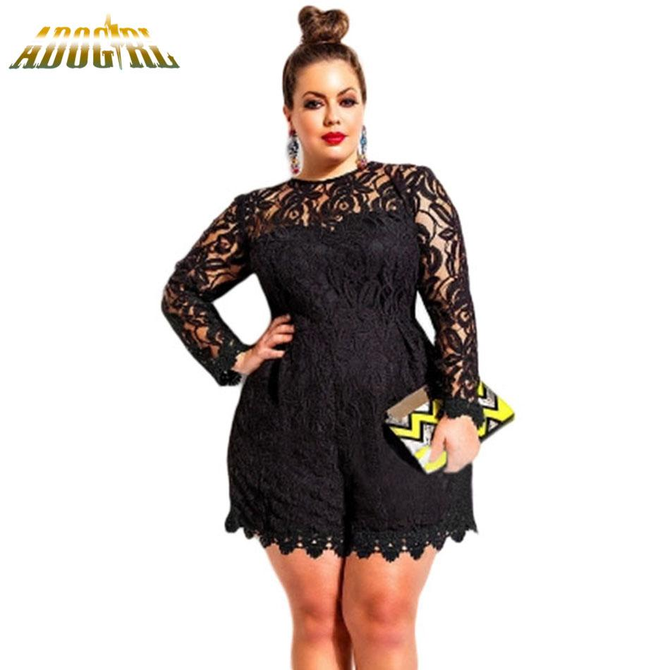 34414b847045 2019 Sexy Lace Short Jumpsuit Women Casual O Neck Long Sleeves Lace Hollow  Out Playsuit Black White Nightclub Female Body Overalls From Brry