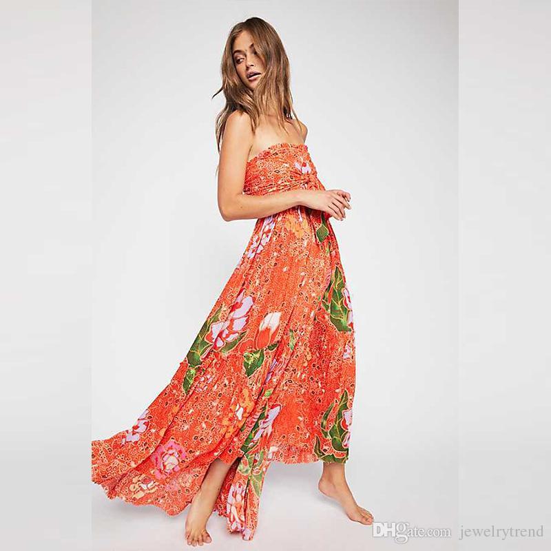 c8e626f85 Vestido floral de las mujeres de la moda de Bohemia del verano Vestido de  flores sin tirantes Señora Vestidos largos Naranja Azul marino C4578
