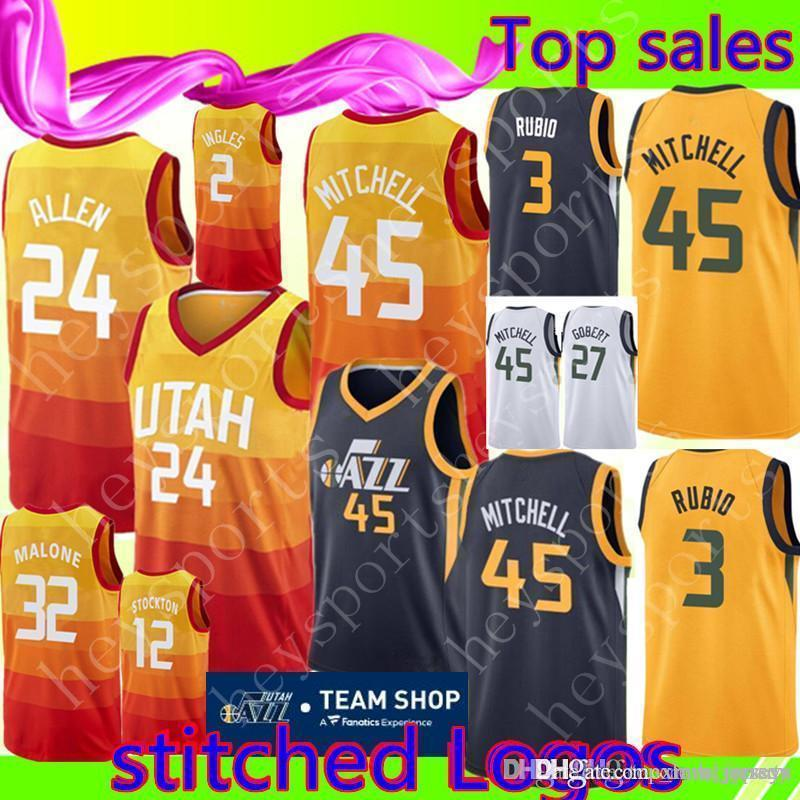 finest selection 9dcc2 26461 Utah 45 Donovan Mitchell 24 Grayson Allen Jersey New 32 Karl Malone 12 John  Stockton 2 Joe Ingles 3 Ricky Rubio 27 Rudy Gobert Jerseys