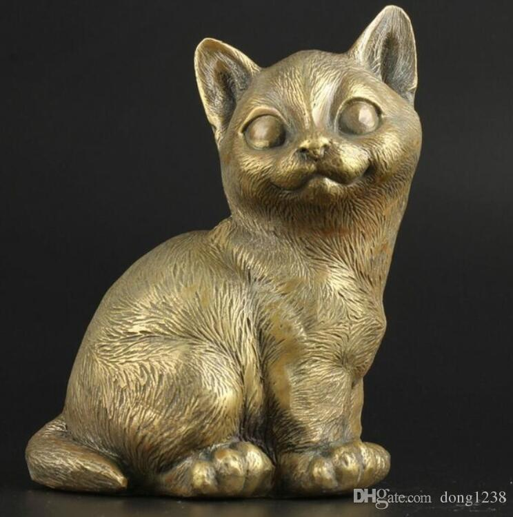 6b24509515ea China Collectable Handmade Brass Lifelike Cute Cat Statue Ornaments