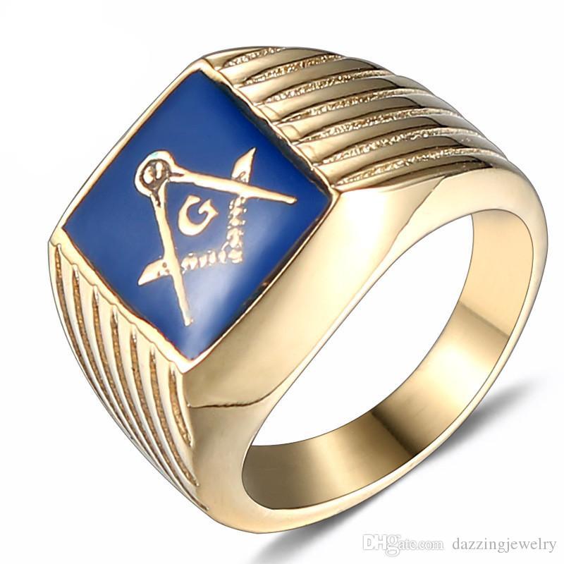High Quality Stainless steel Crystal Dark Blue Enamel Lodge Masonic regalia  signet rings jewel Freemason Fraternity men masonic item gifts