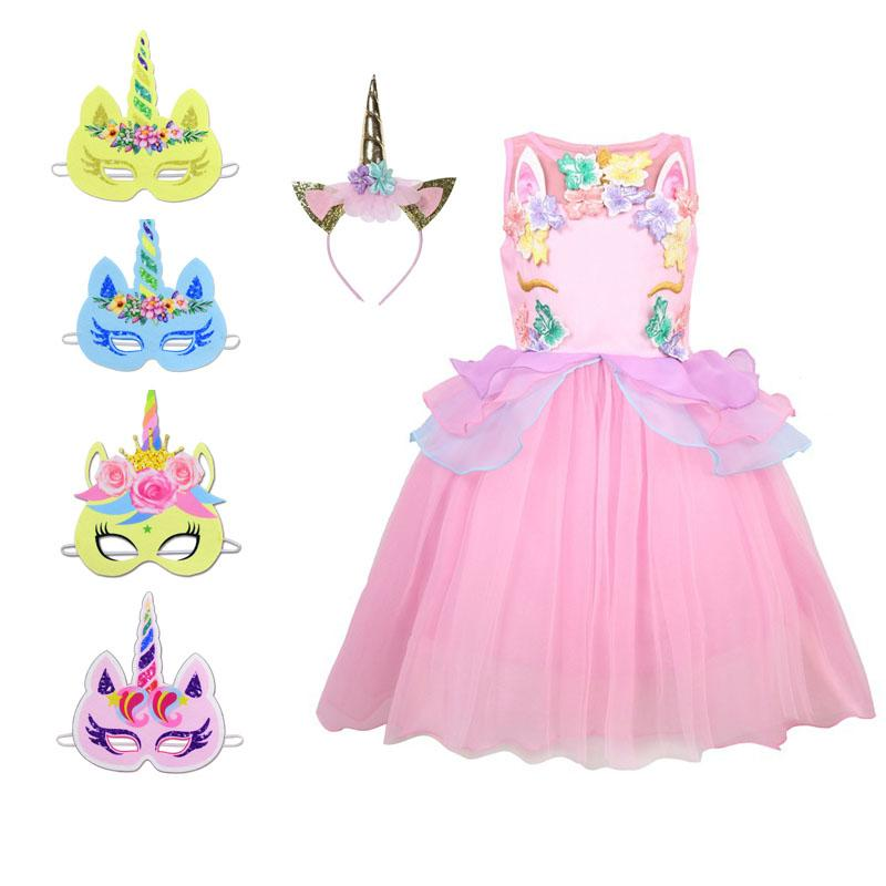 1aaaa9e542c10 Flower Girls Unicorn Tutu Dress Pastel Rainbow Princess Girls Birthday  Party Dress Children Kids Halloween Unicorn Costume 2-9Y