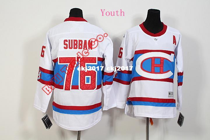 promo code 752d7 9ecab High Quality Newly Winter Classic Premier Montreal Canadiens Kids Jersey  #76 PK Subban White Ice Hockey Jersey 5850