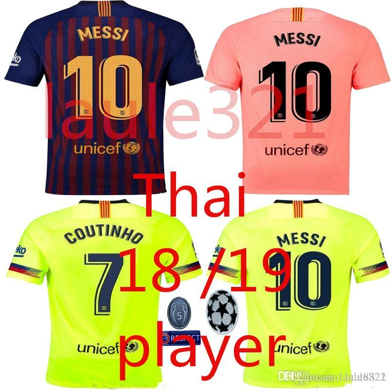 817a88717 2019 PLAYER 2018 2019 FC Barcelona MESSI Soccer Jersey Champions League  Shirt 18 19 Suárez DEMBELE COUTINHO Football Shirt Top Thai Quality From  Laule8822