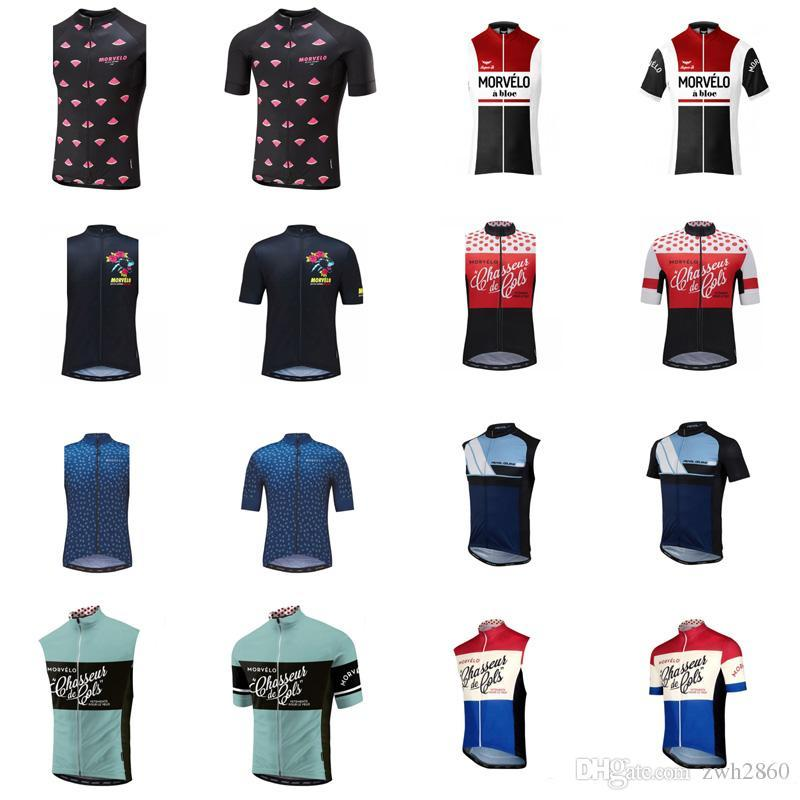 Morvelo team Cycling Short Sleeves/Sleeveless jersey Vest Road Bike Racing Clothes Quick Dry Men Ropa Ciclismo D0706
