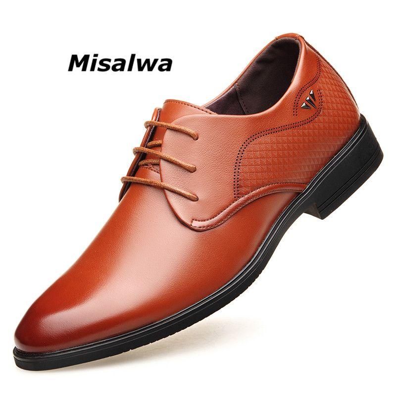 1968df156ec Compre Misalwa, Delicada Textura, Cuero, Marrón, Hombres, Nuevos Y  Elegantes, Hombres Británicos, Zapatos Derby, Oficina De Negocios, Boda, ...