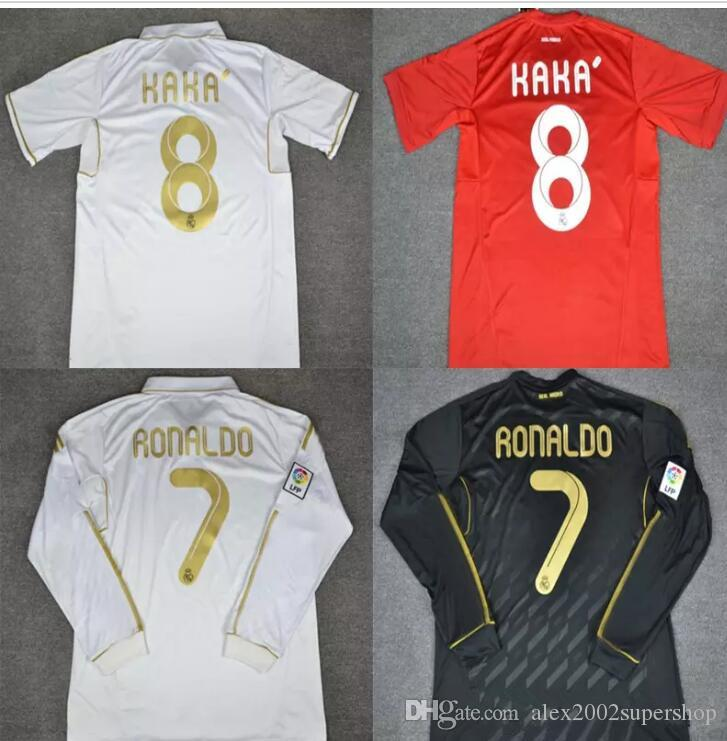 12b15c91c13 Top Quality 2011 2012 Real Madrid Retro Red Jersey Sergio Ramos KAKA ...