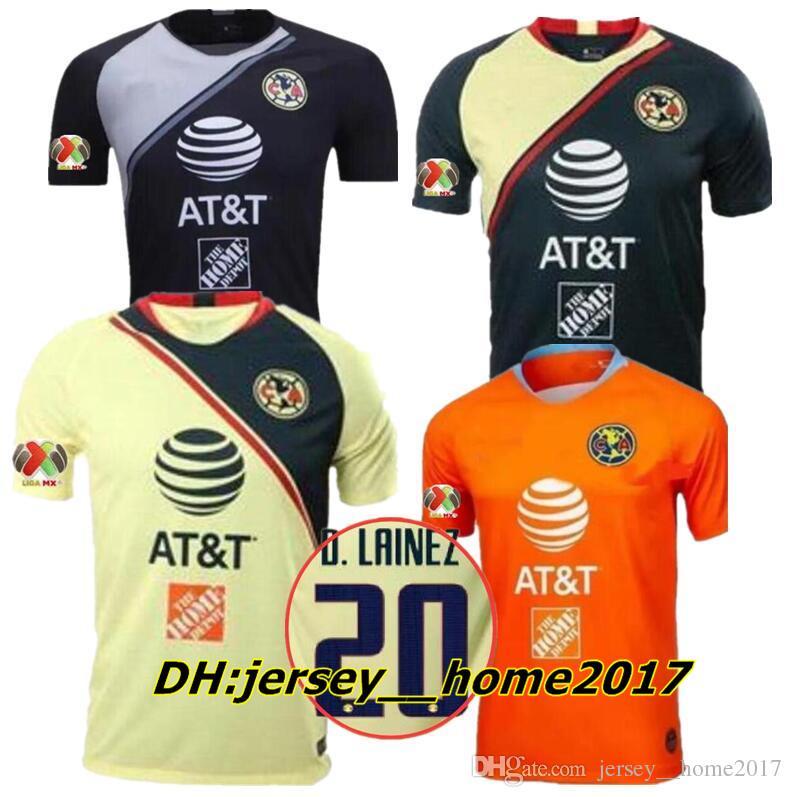 b0705906b16 2019 2018 LIGA MX Club America Soccer Jerseys Home Away 3rd Orange 18 19  O.PERALTA I.RENATO C.DOMINGUEZ MATHEUS Mexico Football Shirts Maillots From  ...