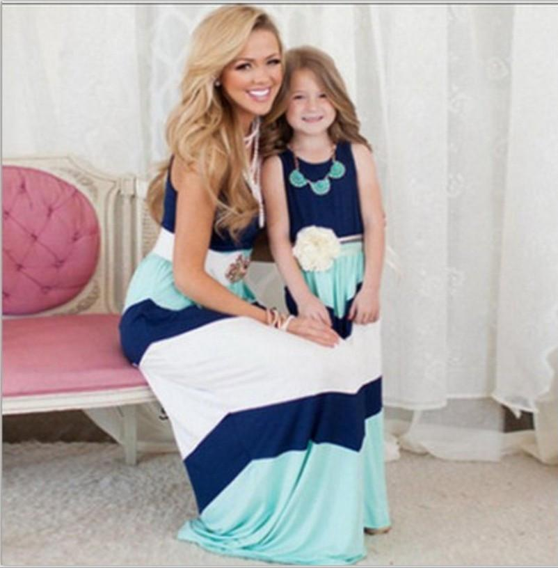 mother daughter dresses Navy striped summer style mom and daughter clothes Sequin Anchor sleeveless dresses Polyester family