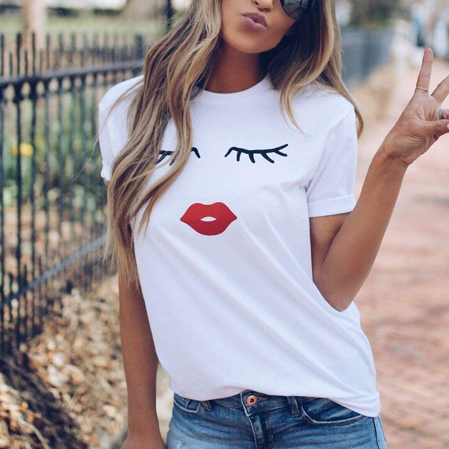 cd279ec74dc Pretty And Cute Eye Lashes Red Lips Print Women T Shirt Summer Casual Short  Sleeve O Neck T Shirt Ladies White TShirt Tops Funny T Shirts For Sale  Awesome T ...