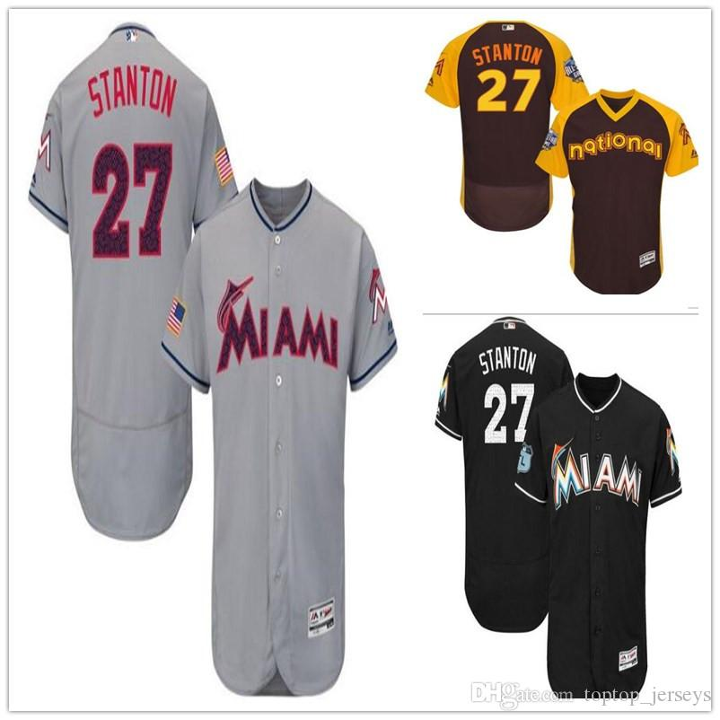 fc661ef2e37 2019 custom Miami Men s women youth Majestic Marlins Jersey  27 STANTON  Home Blue Grey White Baseball Jerseys