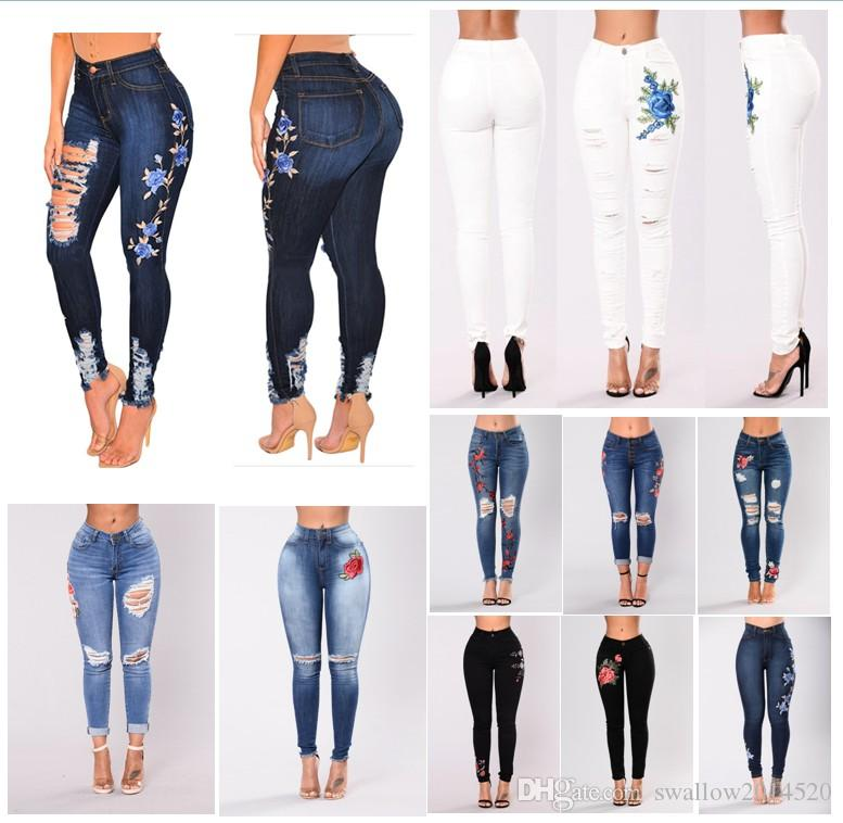 Stretch Embroidered Jeans For Women Elastic Flower Jeans Female Pencil Denim Pants Rose Pattern Pantalon Femme 12 Styles