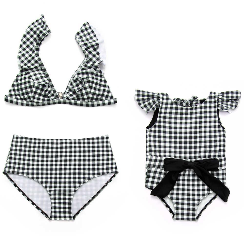 0b4fbe5adfd7d 2019 Parent Child Swimsuit Plaid Swimwear 2018 Mom Daughter Bikini Girls  Monokini Women High Waist Biquini Ruffle Bathing Suit Bow From Pulchritude,  ...
