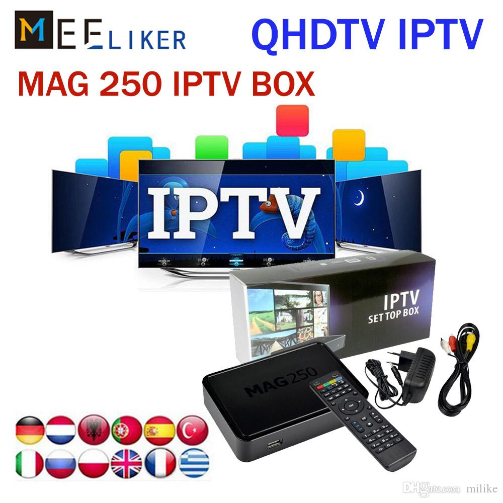 QHDTV 1year free arabic Iptv Set Top Box Mag 250 Same as Mag254 Linux  streaming 256M Media Player MAG250 French US European channels