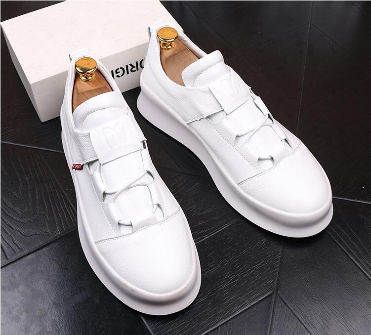 newest d65b5 50af3 Estate scarpe bianche da uomo nuova ondata versione coreana del trend di  scarpe casual con la suola spessa in pelle da uomo selvatico