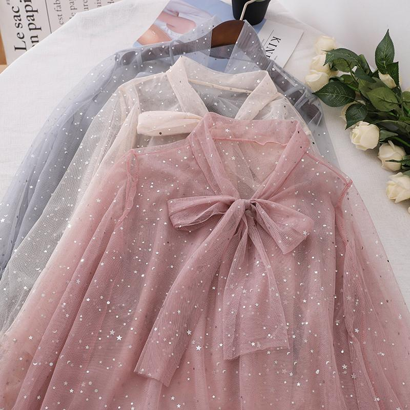 be7777d2b3b4c 2019 Spring Summer New Korean Women Fashion Shirt Bowtie Flare Sleeve Mesh  Blouse Sweet Loose Shirts Sheer Elegant Tops From Manteau, $26.88 |  DHgate.Com