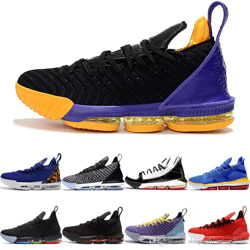 NIKE LeBron James 16 XVI 16s Zapatillas de baloncesto King Court Purple 1 Thru 5 Multi-Color King Oreo Prometo Lakers 16 para hombre Zapatillas deportivas de diseñador 7-12