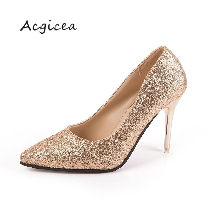 Compre 2019 Vestido 2018 Zapatos De Tacón Alto De Oro Brillo De Primavera  Puntiagudos Con Plata Fina Con Zapatos De Dama De Honor Zapatos De Mujer  Mujer ... 01b7cb7d72b