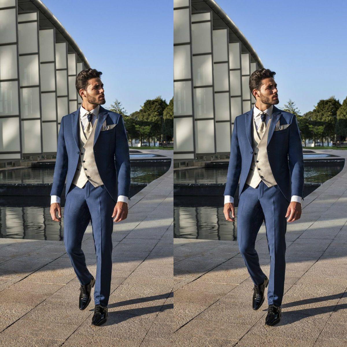 Navy Blue Wedding Tuxedos Men Formal Suits Businessmen Bridegroom