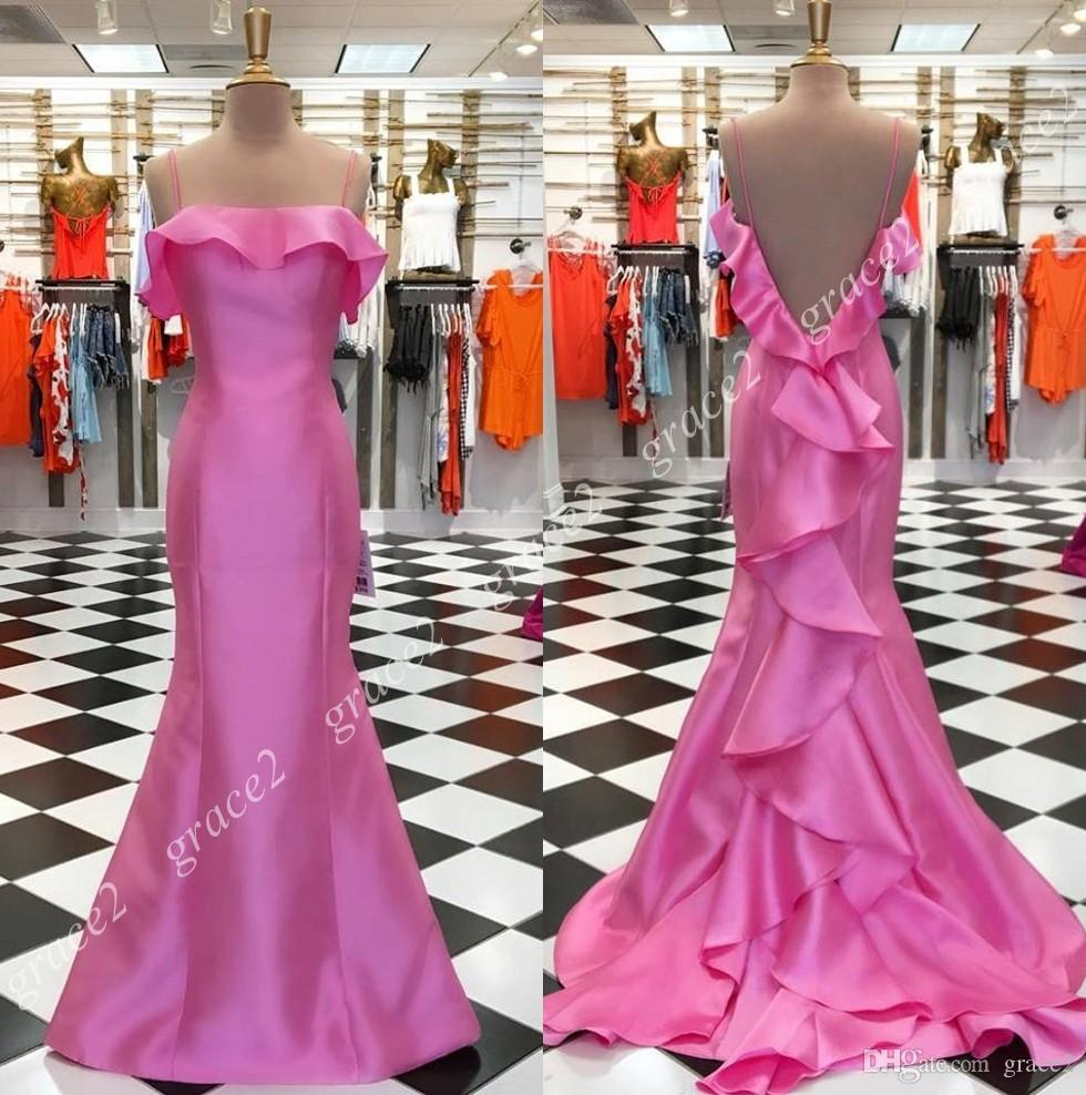 Miss Universe Beauty Pageant Dresses 2019 Soft Pink Satin Mermaid Prom  Dresses Ruffles Back Train Real Pictures Spaghetti Neck Sweep Train