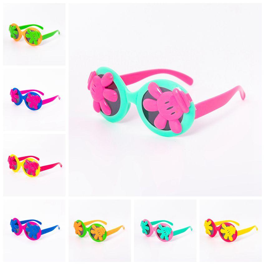 Kids Palm Sunglasses Summer Palm Eyewear Cartoon Frame Googles UV Protection Reflective Kids Sunglasses 8 Colors CCA11832 200pcs