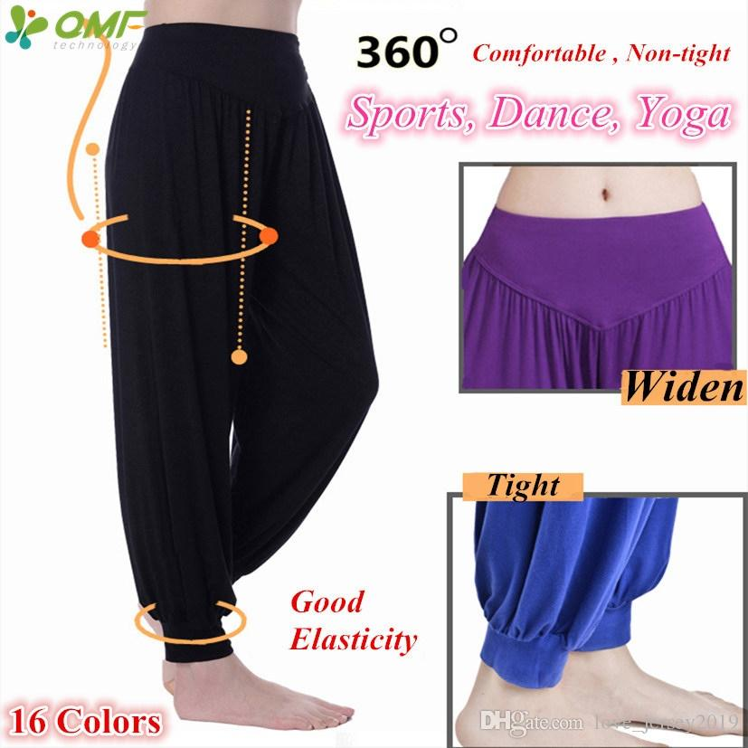 040256c0c5142 Modal High Waist Women s Sports Yoga Pants Wide Leg Loose Long Bloomers  Trousers Belly Dancing Bloomers Pants Dance Club #256453