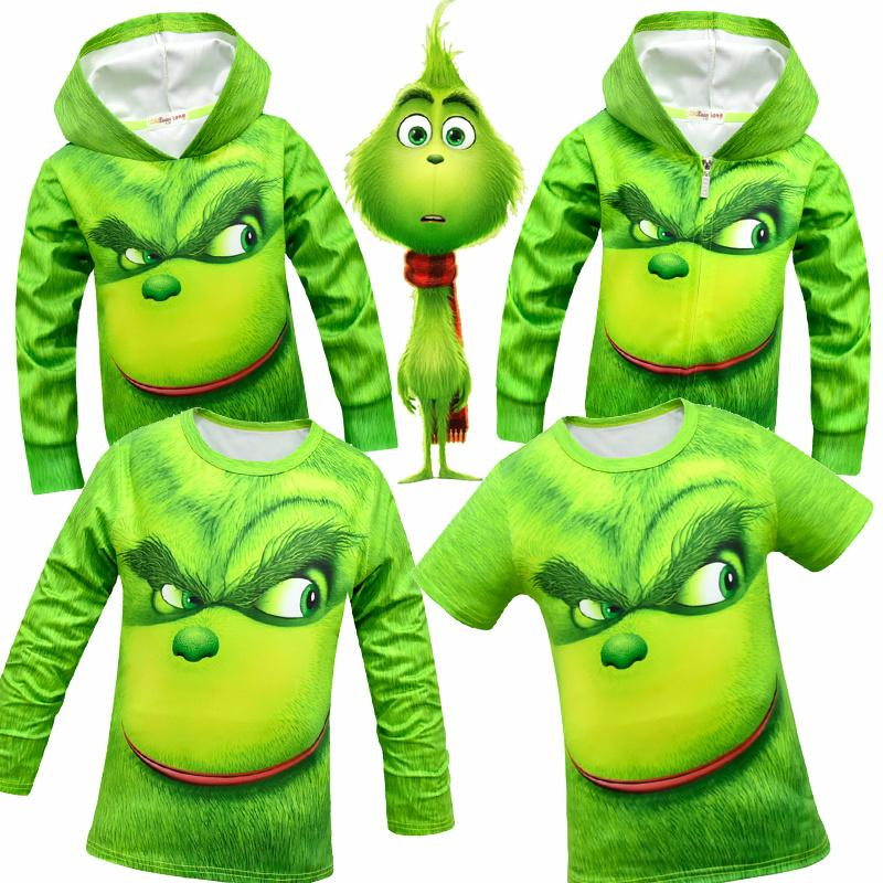 58a2ebc1c The Grinch Cartoon Print Kids Girl Coats Game The Grinch Boys Jacket ...