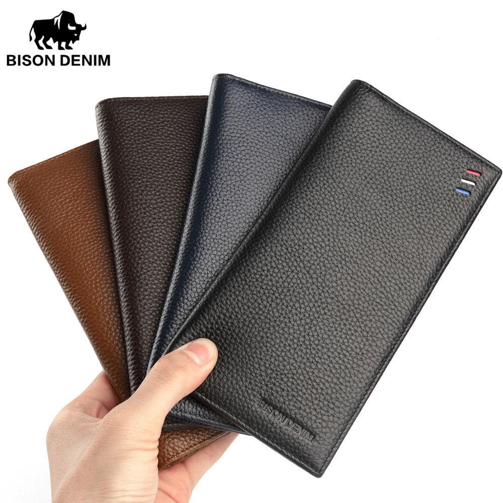 ca191f243 BISON DENIM Genuine Leather Wallet Male Slim Men'S Luxury Long Clutch Black Card  Slot Money Bag Male Purse N4391 5 Hobo Wallet Ladies Wallets From Getoffit,  ...