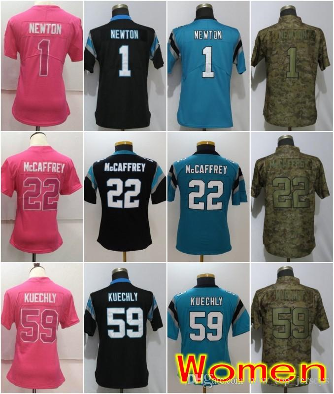 official photos 943a7 c065d Women Carolina Jerseys 22 Christian McCaffrey Panthers 1 Cam Newton 59 Luke  Kuechly Olive Salute to Service Ladies Size S-2XL