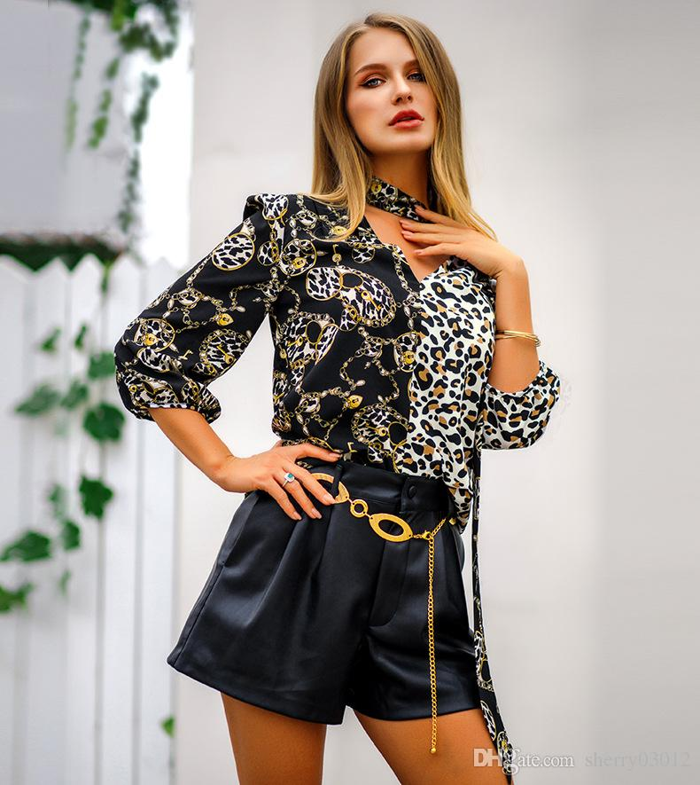 434566aa9f 2019 Women Blouse Leopard Print Shirts Long Sleeve Top Loose V Neck Lace Up  Blouses Plus Size 2019 Chiffon Shirts Camisa Feminina Clothing From  Sherry03012